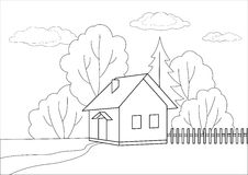 Small house on a wood edge, contours. Summer landscape: toy small house on a wood edge, contours Stock Photo
