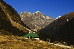 The small house in the yungtham valley at North Sikkim Royalty Free Stock Images