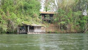 Small Houseboat on the river stock video