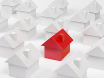 Small houses. Abstract drawing of a small house of red colour which is located among small houses of grey colour Royalty Free Stock Photos