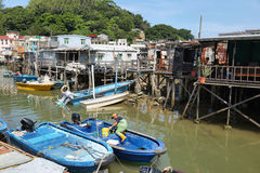 Small houses and boats in Tai O fishing village Royalty Free Stock Photo
