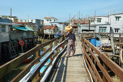 Small houses and boats in Tai O fishing village Stock Photography