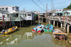 Small houses and boats in Tai O fishing village Royalty Free Stock Images