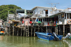 Small houses and boats in Tai O fishing village Stock Images