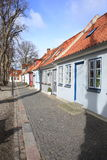 Small houses in Bogense on Funen Island, Denmark. Historic row of house in Bogense on Funen Island, Denmark Royalty Free Stock Photos