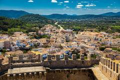 Small houses of Capdepera. Upper view to the small houses in Capdepera on the north of Majorca, Spain Stock Image