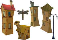 Small houses and lamppost Stock Photography