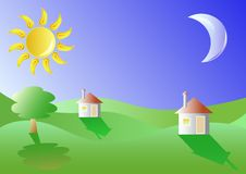 Small houses in a landscape Royalty Free Stock Photo