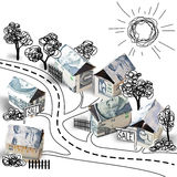 Small houses made of dollar banknotes isolated on white background. Inscription sale. Doodle sketch. Concept of real estate. Origami of money. Moneygami Stock Photos