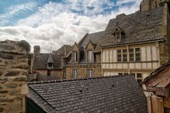 Small houses of Mont Saint Michel Stock Photography