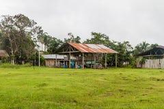 Small houses in Nuevo Rocafuerte. Village, Ecuador royalty free stock image