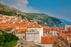 Small houses with red roofs in the Dubrovnik Old Town Royalty Free Stock Image