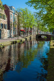 Small houses of the seventeenth century along the canals in Delf Royalty Free Stock Photos