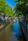 Small houses of the seventeenth century along the canals in Delft, Netherlands stock photography