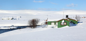 Small houses in the snow, Norway Royalty Free Stock Photo