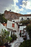 Small houses traditional anafiotika neighborhood. Small houses in the traditional Anafiotika neighborhood under the Acropolis. Cycladic islands village style Royalty Free Stock Photos