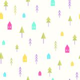 Small houses and trees pattern. Small houses and trees. Vector EPS 10 seamless pattern Stock Photography