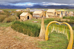 Small houses on Uros islands. Stock Images