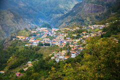 Small houses at the village Curral das Freiras. In Madeira, Portugal Royalty Free Stock Image