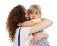 Small hugging mum young girl Stock Photography