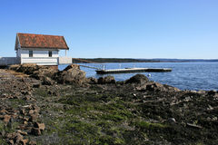 Small hut. In Oslo Fjord, Norway royalty free stock photography