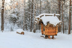 Small hut. Wooden hut in the forest Royalty Free Stock Photography