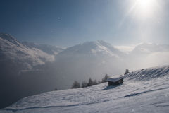 Small hut in the Alps Royalty Free Stock Photo
