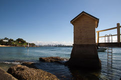 A Small Hut by Camp Cove. Viewing from Camp Cove, Watsons Bay royalty free stock photos