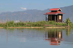 Small hut on a floating garden of Inle Lake Stock Image