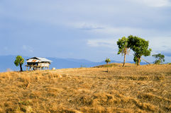 Small hut on the mountain view Stock Image