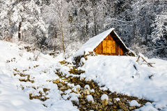 Small hut in the mountains Royalty Free Stock Photo