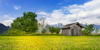 Small hut next green bushes and trees Royalty Free Stock Images