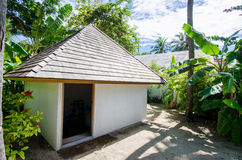 Small hut at tropical island resort Royalty Free Stock Images