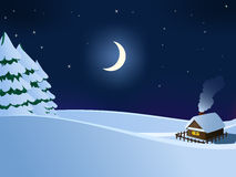 Small hut wooden house in christmas winter night Royalty Free Stock Photo
