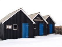 Small Huts. For leisure fishing captured in snow Royalty Free Stock Photography