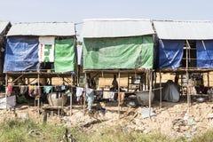 Small huts in the garbage dump village outside Phnom Penh, Cambodia Stock Photo