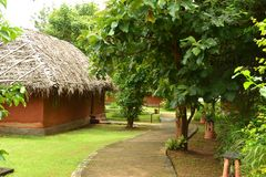 Small huts for holiday accommodation in India. These small huts are the lodgings for tourists in a holiday resort in Southern India Stock Images