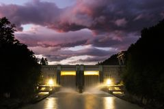 Small hydro dam electricity power station stock image