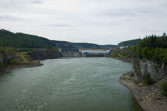 Small hydro electric dam on the Peace River, northeastern BC Royalty Free Stock Photography