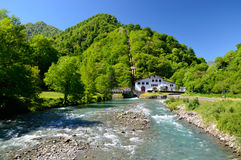 Small hydroelectric power station in the Pyrenees Royalty Free Stock Photography