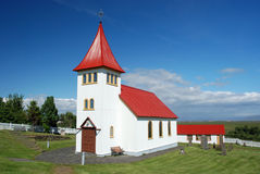 Small Icelandic church with cemetery Royalty Free Stock Photography