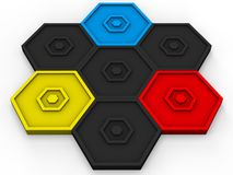 Small icon shape - red, blue, yellow hexagons. Small icon shape - red, blue, yellow and black hexagons Royalty Free Stock Photography