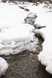 A small icy mountain torrent, Santa Caterina Valfurva, Italy Royalty Free Stock Photo
