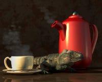 Iguana Coffee royalty free illustration