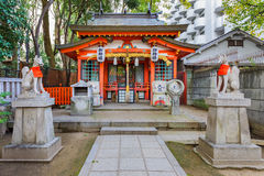 Small Inari shrine in Ikuatjinja in Kobe. KOBE, JAPAN - NOVEMBER 17: Inari Shrine in Kobe, Japan on November 17, 2013. Small Inari shrine in Ikuatjinja area Royalty Free Stock Photography