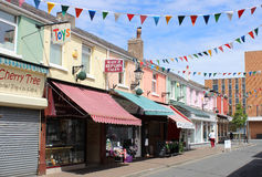 Small independent shops, Wesley street Southport Royalty Free Stock Image