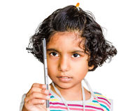 Small Indian Asian Girl Holding Pencil Stock Image