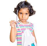 Small Indian Asian Girl Holding Pencil Royalty Free Stock Images