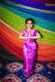Small Indian girl with Indian clothes. Sari. Royalty Free Stock Photography