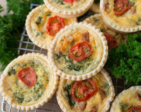 Small Individual Quiche With Parsley. Small individual quiche each topped with a slice of tomato stacked on a wire rack with parsley at the sides Stock Photo
